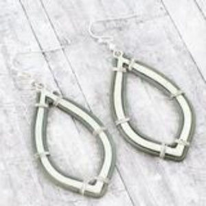 Jewelry - Silvertone and Gray Faux Leather Earrings